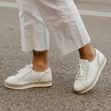 Vidorreta White Nappa Leather Flat Espadrilles with studs_10