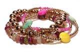 Armband Edelsteen rondellen roze mix_10