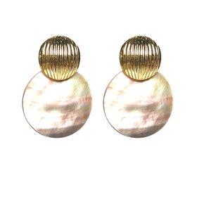 Oorbellen Verguld Goud met groen/grijze Parelmoer hangers