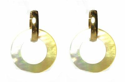 Oorbellen Stainless Steel Goud met witte Parelmoer hangers