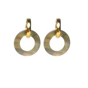 Oorbellen Stainless Steel Goud met groen/grijze Parelmoer hangers
