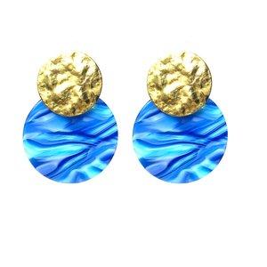 Oorbellen Verguld Goud met blauwe hangers