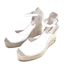Vidorreta White Nappa Leather Wedge Espadrilles