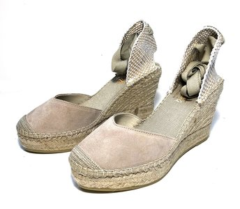 Vidorreta Taupe  Suede Wedge Espadrilles with Ribbons