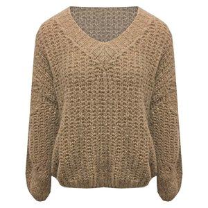 Oversized Wollen trui met V-hals grof gebreid