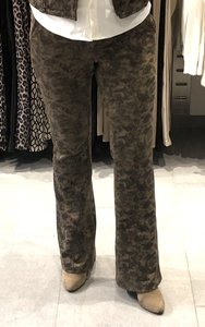 Leather Look Flared Broek Y-Conic Taupe