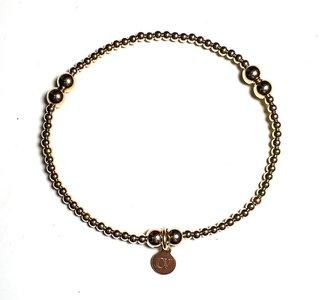 Bolletjes armband 2,5mm/5mmmm Verguld Goud